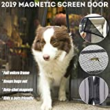 Upgrade Magnetic Screen Door with Heavy Duty Mesh Curtain and Reinforced Full Frame Adhesive Hook Tape Fits Door Size up to 36'-82', Black