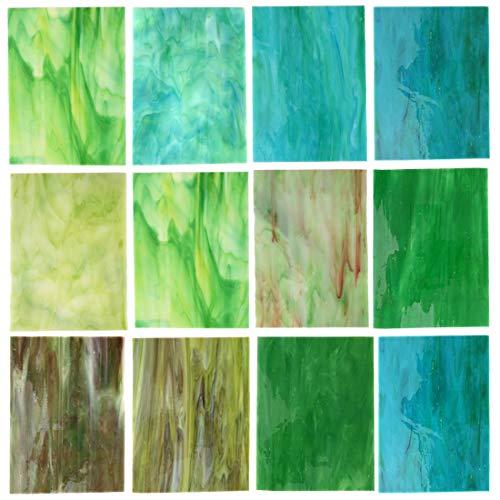 Lanyani Glasmalerei-Set, 10,2 x 15,2 cm, große Kathedralglas-Mosaikfliesen zum Basteln, Grün gemischt