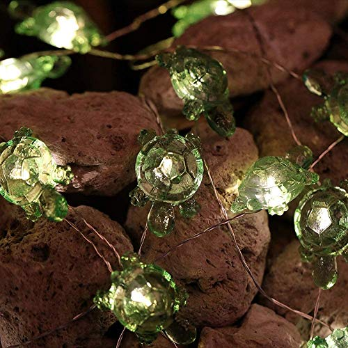 Beach Theme Sea Turtle String Lights 13.1ft 40 LEDs Operated with Battery Pack Multi-Function Remote Control for House Party Bathroom Baby Shower Decor (Green Tortoise, Battery)