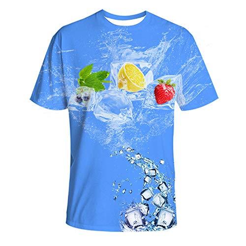 Herren Damen T-Shirt 3D Druck Kurze Ärmel Grafik T Shirts Männer Blaue Sommer Gefrorene Frucht T-Shirt männlich 3DT Shirt Kurzarm Rundhals Digitaldruck lässig Kurzarm-Color_M