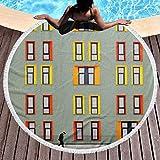 Toallas de Playa Redondas Manta con borlas Ventanas Viejas Colcha de Microfibra Círculo Alfombras de Barco para Colgar en la Pared para Hombres