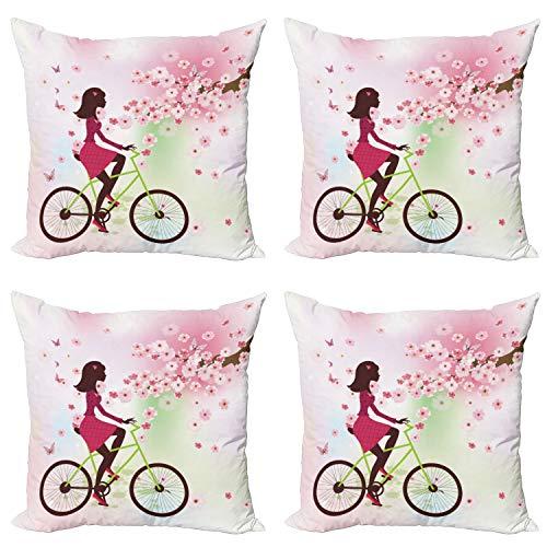 ABAKUHAUS Femenino Set de 4 Fundas para Cojín, Cereza Bloom Señora de la Bici, Estampado Digital en Ambos Lados y Cremallera, 45 cm x 45 cm, Rosa Verde