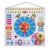 ewtshop Lernuhr aus Metall, farbenfrohe Lerntafel mit Datum, Uhrzeit und Jahreszeiten