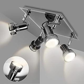 Depuley Luminaire Plafonnier LED 4 Spots de plafond Orientables&Pivotants Carré en Chrome Noir, Spot de Plafonnier 4x3W GU...