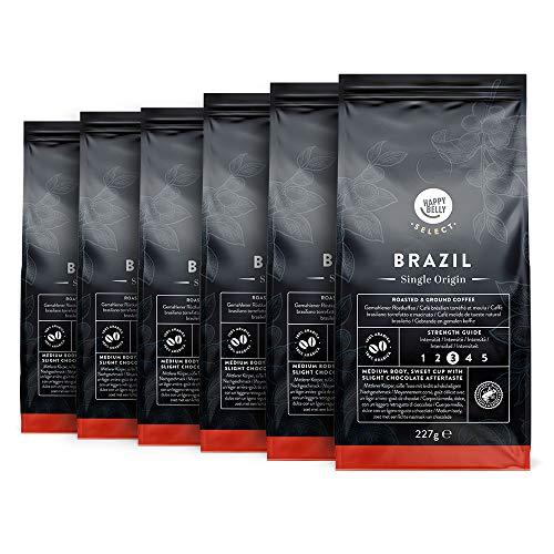 Amazon-Marke: Happy Belly Select Gemahlener Röstkaffee Mit Kaffeebohnen aus Brasilien, 6 x 227gr