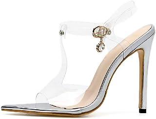 Women's high heels - transparencies stiletto pointed sandals rhinestones versatile shoes