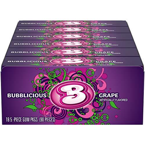 Bubblicious Grape Gum, 18 Packs of 5 Pieces (90 Total Pieces)