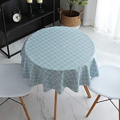 JIALIANG Tovaglia facile da pulire, in PVC impermeabile e lavabile, 120 x 180 cm, con piccola griglia blu lago