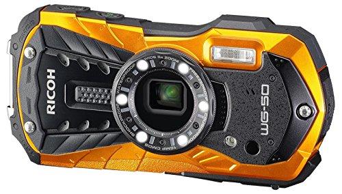 Ricoh WG-50 - Cámara Sumergible (Sensor retroiluminado de 16 MP, Objetivo Gran Angular, vídeo Full HD) Color Naranja
