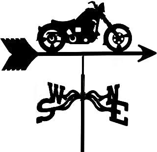 ريشة الطقس المعدنية مع زخرفة دراجة نارية للطائرة ، ريشة رياح حديقة Weathervane ، مؤشر اتجاه الرياح من الفولاذ المقاوم للصد...