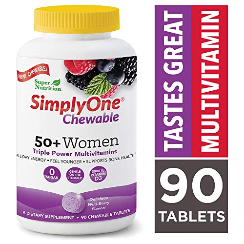 SuperNutrition SimplyOne Multi-Vitamin for Women 50+, High-Potency, One/Day Chewable Tablets, 90 Day Supply, Wild Berry, 90 count (pack of 1)