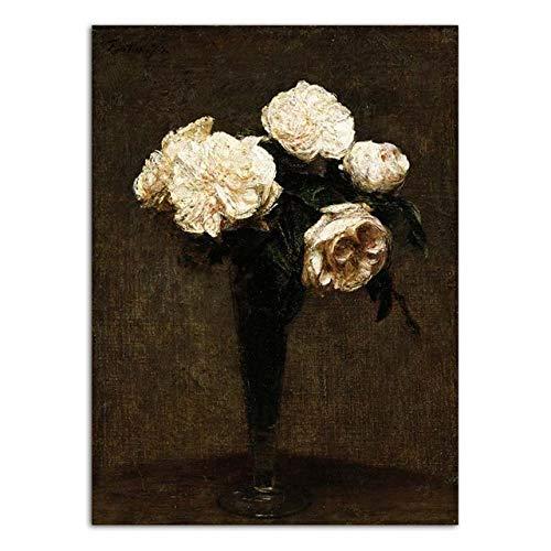 zxddzl Druck Leinwand Wandkunst Poster Ölgemälde Arbeit Malerei Vase Blumenstrauß Im Korb 40x60 cm KEIN Rahmen YH2793