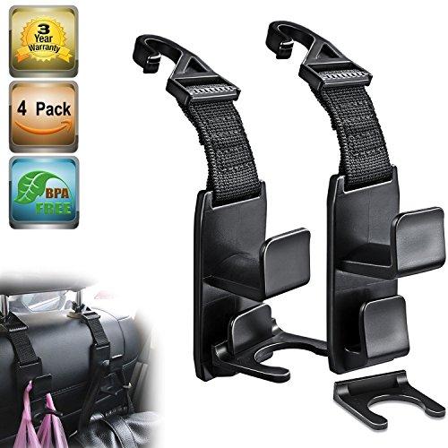 Heroway Magic Headrest Hooks for Car, Purse Hanger Headrest Hook Holder for Car Seat Organizer Behind Over the Seat Hook Hang Purse or Bags, Black, 4Pack