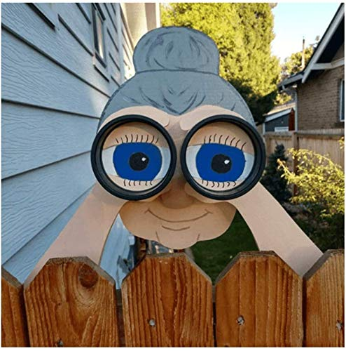 Nosy Old Man and Lady Yard Fence Decorations, 11 inch Outdoor Cute Garden Fence Sign Ornament, Realistic Old Man and Lady Yard Art Decor (Nosy Old Lady)