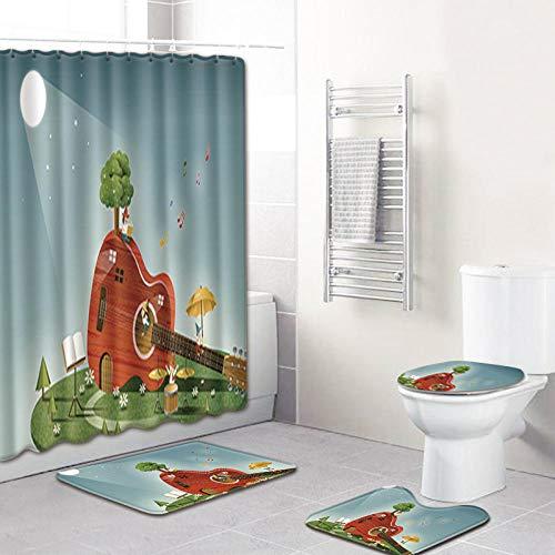 Soft Toys Alfombrillas de baño y cortina de ducha conjunto de esteras de pies de franela conjunto de platos de baño decoración alfombra absorbente de alfombras nota musical imprimir higorios Soft Toys
