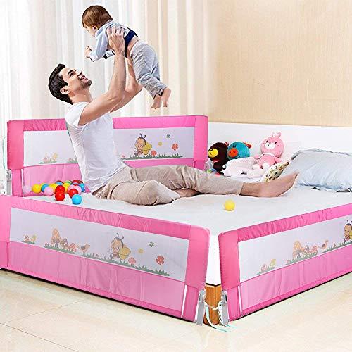 Barrera de cama, 150/180 cm, plegable, barrera para cuna, barrera de seguridad contra caídas rosa Talla:180 cm