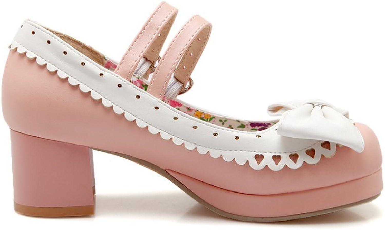 Davikey Womens Lolita Style Chunky Heels Cute Bowknot Pumps shoes