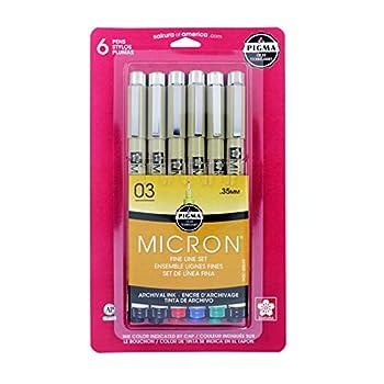 Sakura Pigma 50049 Micron Blister Card Ink Pen Set Ass t Colors 03 6CT