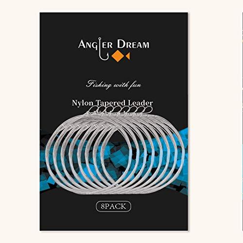 ANGLER DREAM 8パック 溶接テーパードリーダー フライフィッシングリーダー ループ付き 9フィート 0/1/2/3/4/5/6/7X ナイロンフライリーダー