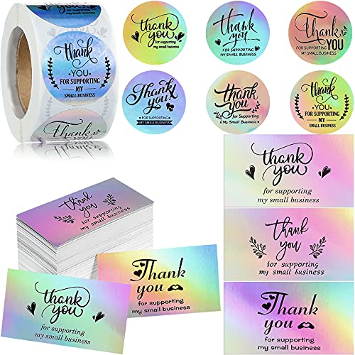 680 Pieces Thank You for Your Order Card Set Reflective Holographic Silver Thank You for Supporting My Small Business Card 1.5 Inch Thank You Sticker Label for Business Owners Sellers Package Insert