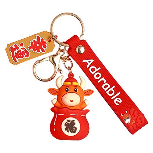 Y-POWER Llavero rojo con colgante de vaca de la suerte para el año nuevo, diseño de mascota Koi becerro