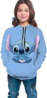 guoweiweiB Sudadera Juvenil con Capucha Cute Blue Lilo and Stitch Teen Girls Boys Hoodie Pullover Sweatshirt