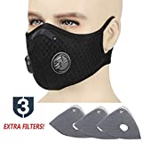 Cevapro Upgraded Dustproof Masks 2 Pack, Dust Mask with Extra 3 N99 Activated Carbon Filter - Anti Pollution Mask Allergy PM 2.5 Half Face Masks for Biking Motorcycling Running (Black+3 Filter)