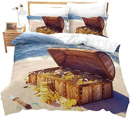 Watpasper Bettwäsche 3 Teilig 3D Microfaser Landschaft Strand Schatz Schatztruhe Bettbezug Set Mit König (240 X 220 cm) Betten Set Reißverschluss Und 2 Kissenbezug 50X75Cm