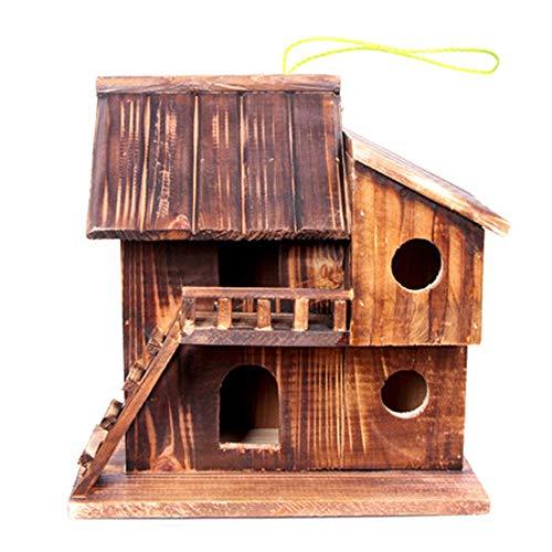 Hanging Bird House En plein air deux étages Hut Bird House Décoration extérieure Bird House Garden Décorations for oiseaux sauvages Volière Garden Nester ( Couleur : Marron , Size : Free size )