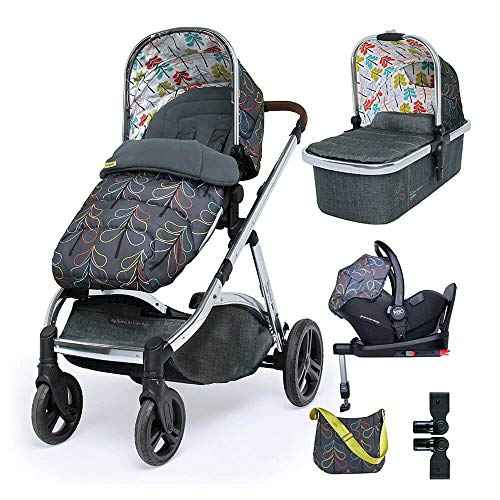 Cosatto Wow XL Pram Pushchair Everything Travel System Bundle – From Birth to 25kg, RAC Port i-Size Car Seat, Adaptors, ISOFIX Base, Footmuff & Change Bag (Nordik)