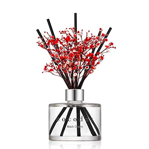 Cocod'or Preserved Real Flower Reed Diffuser, Black Cherry Reed Diffuser, Reed Diffuser Set, Oil Diffuser & Reed Diffuser Sticks, Home Decor & Office...