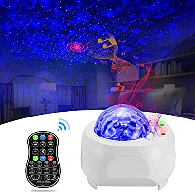 Galaxy Projector BSYUN 2nd Version 3 in 1 Sound Activated Night Lights Projector with Remote Control for Bedroom Room Ceiling Décor Gift for Kids Adults (White)