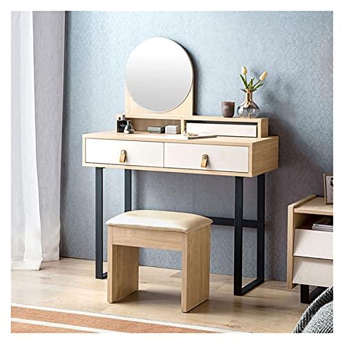 Xinxinchaoshi Tocador Tocador Dormitorio Moderno Minimalista Pequeño tocador Ins Estilo tocador con heces de Maquillaje Mesa de Maquillaje