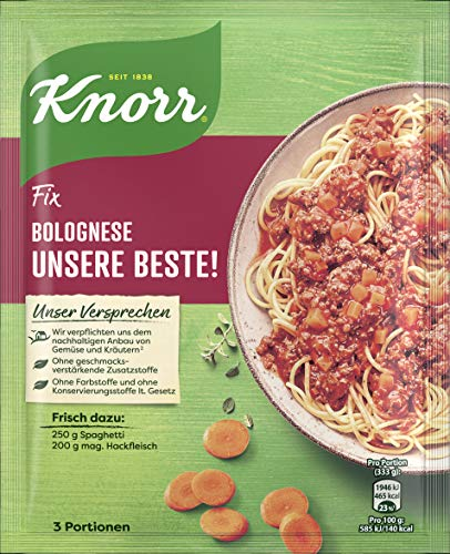 Knorr Fix Würzbasis Unsere Beste! Spaghetti Bolognese, 3 Portionen, 38g
