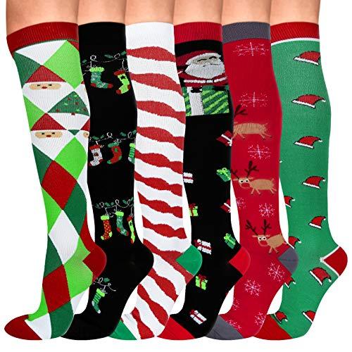 6 Pair Compression Socks for Women & Men, Knee High Compression Socks 20-30 mmHg for Nurses, Travel, Pregnancy, Christmas(S/M)