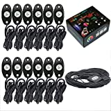 12 Pod RGB Led Rock Lights Kits with Bluetooth Control Waterproof Neon Lights for Cars Off Road Truck SUV ATV (12 Pods)