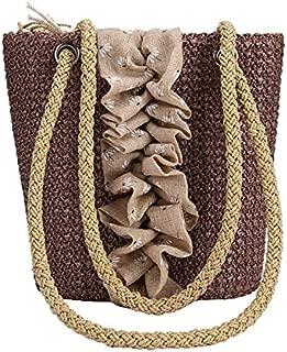 TOOGOO Printed Pattern Straw Weaving Female Bag Bohemian Shoulder Bag Casual Beach Bag Handbag Brown