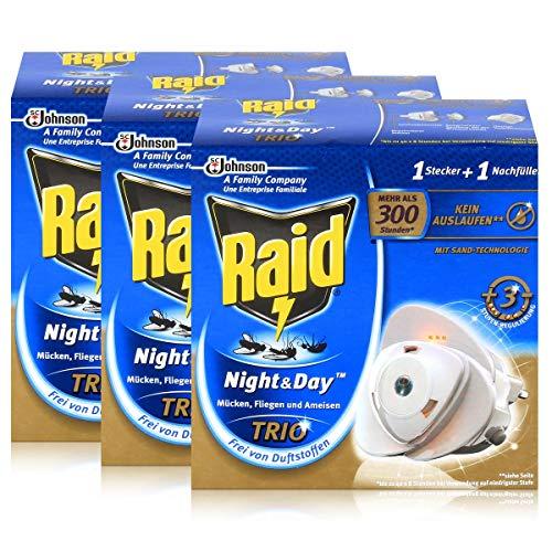 3x Raid Night & Day Trio Insekten Stecker & Nachfüller, gegen Mücken, Fliegen & Ameisen