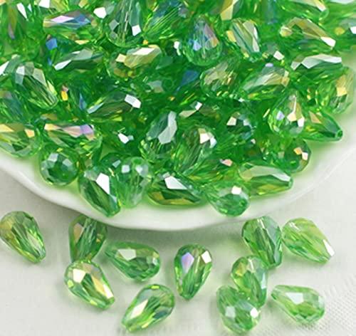 8 * 11mm cuentas de cristal en forma de lágrima colgante facetado diadema joyería pendiente collar pulsera accesorios de costura Diy