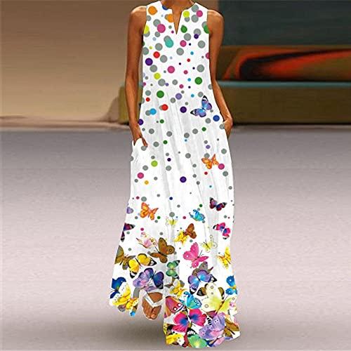 Vestido Largo Bohemio,Vestido De Mujer Mariposa Colorida Estampado En 3D Escote En V Blanco Sling Maxi Vestido De Bolsillo Casual De Gran Tamaño Falda De Swing Fiesta De Primavera Y Otoño Vestidos