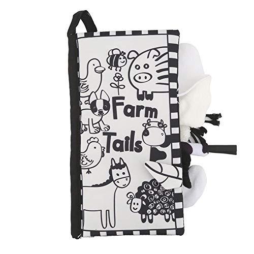 Livre de tissu de queue, livre tôt de livre d'éducation de bébé doux d'activité de livre d'animal de pli pour 0-3 ans enfant en bas âge(Black White)