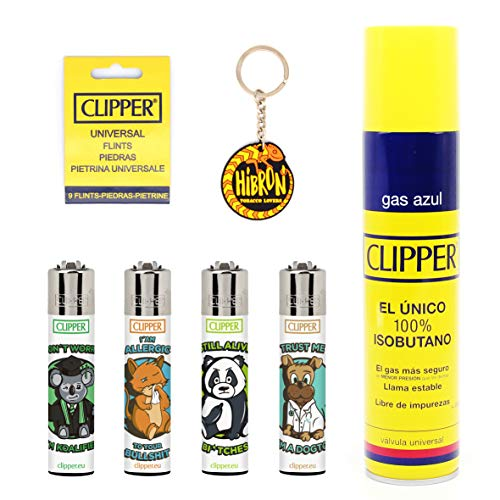 HIBRON Clipper 4 Mecheros Encendedores Diversos Surtidos Bonitos, 1 Carga Gas Encendedor Clipper 300 Ml,9uds De Piedra Clipper Y 1 Llavero Gratis 1-10003-5