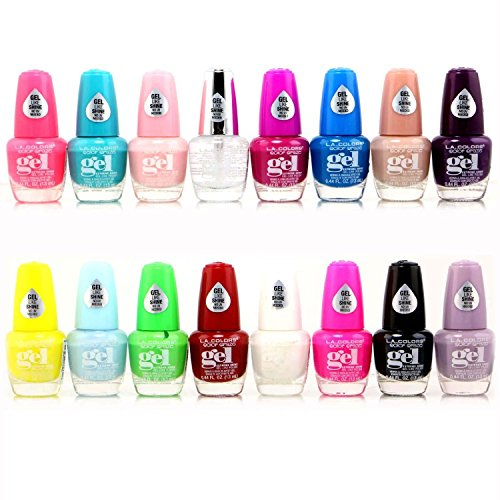 16pc L.A. Colors Extreme Shine gel nail polish no UV needed, intense color, non-fussy Set 2 new 16...