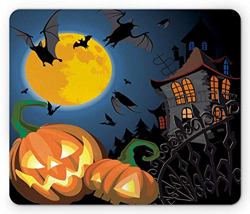Halloween Mouse Pad Gothic Halloween Haunted House Party Thema Design Süßes oder Saures Motive Drucken Rechteck Rutschfestes Gummi-Mousepad Standardgröße Orange Schwarz