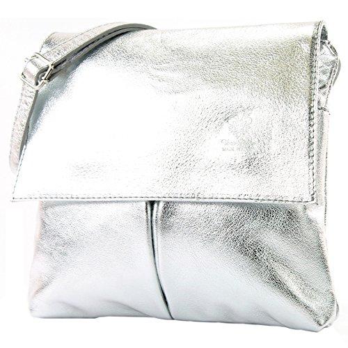 Borsa a tracolla messenger, vera pelle italiana, T63, Colore:argento