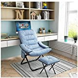 Egmy_ 【USA Stock 】 Accent Chair Lazy Reclining Armchair with Removable Metal Legs and High-Density Foam, Comfy Upholstered Single Sofa Chair with Ottoman for Living Room, Bedroom, Office