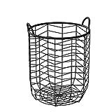 QTQHOME Contenedores de cestas de Almacenamiento con Asas para Dormitorio,baño,lavadero,Organizador de cesto de Ropa de Hierro (Color:Blanco)