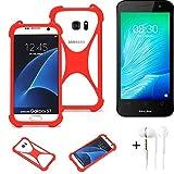K-S-Trade® Handyhülle + Kopfhörer Für TP-LINK Neffos Y50 Schutzhülle Bumper Silikon Schutz Hülle Cover Case Silikoncase Silikonbumper TPU Softcase Smartphone, Rot (1x),