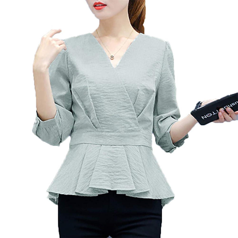 [美しいです]レディース ウェスト ブラウス Vネック 九分袖 ゆったり トップス 通勤 気質 ブラウス プルオーバー シャツ