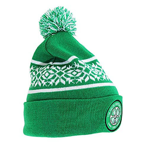 Celtic FC Official Snowflake Cuff Knitted Hat (One Size) (Green)